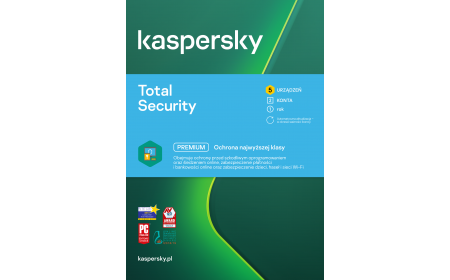 Antivirus software Kaspersky Total Security 5 devices / 1 year