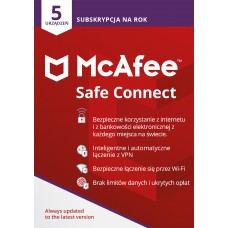 Antivirus software  McAfee Safe Connect - 5 devices / 1 year